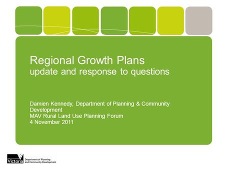 Regional Growth Plans update and response to questions