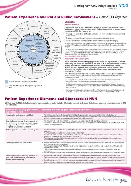 Definitions Patient Experience Patient experience at NUH results from a range of activities that all impact upon patient care, access, safety and outcomes.