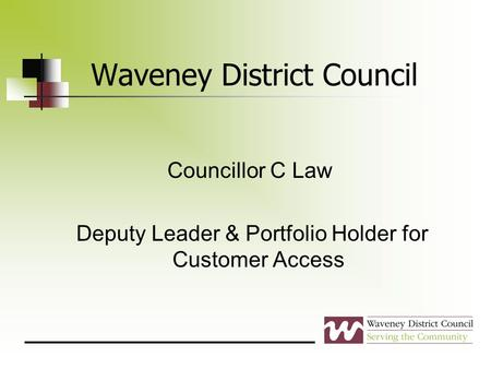 Waveney District Council Councillor C Law Deputy Leader & Portfolio Holder for Customer Access.
