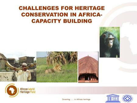 CHALLENGES FOR HERITAGE CONSERVATION IN AFRICA- CAPACITY BUILDING Investing..... in Africa ̀ s heritage.