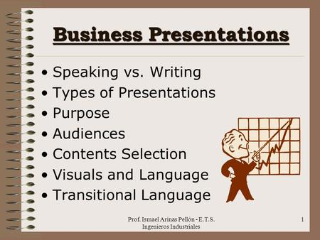 Prof. Ismael Arinas Pellón - E.T.S. Ingenieros Industriales 1 Business Presentations Speaking vs. Writing Types of Presentations Purpose Audiences Contents.
