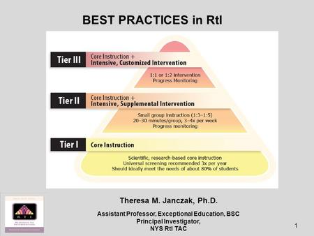 BEST PRACTICES in RtI to Theresa M. Janczak, Ph.D.