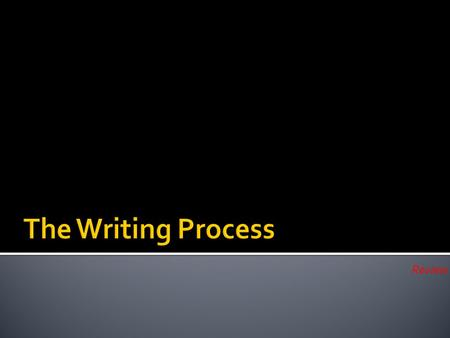 The Writing Process Review.