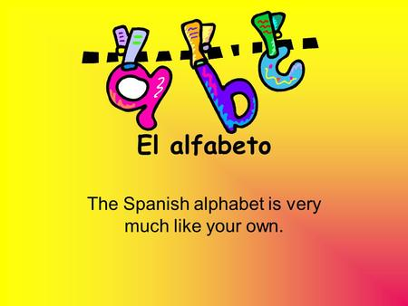 El alfabeto The Spanish alphabet is very much like your own.