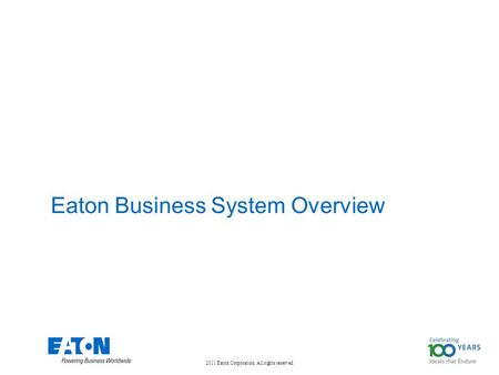 Eaton Business System Overview