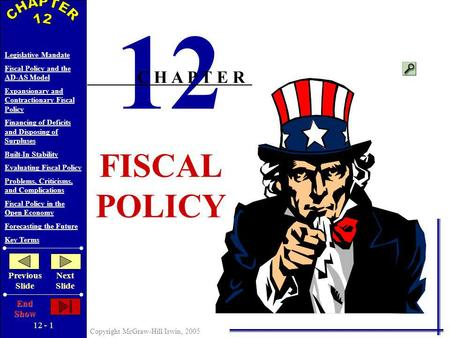 12 - 1 Copyright McGraw-Hill/Irwin, 2005 Legislative Mandate Fiscal Policy and the AD-AS Model Expansionary and Contractionary Fiscal Policy Financing.