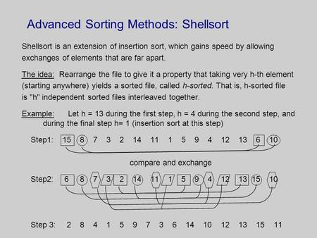 Advanced Sorting Methods: Shellsort Shellsort is an extension of insertion sort, which gains speed by allowing exchanges of elements that are far apart.
