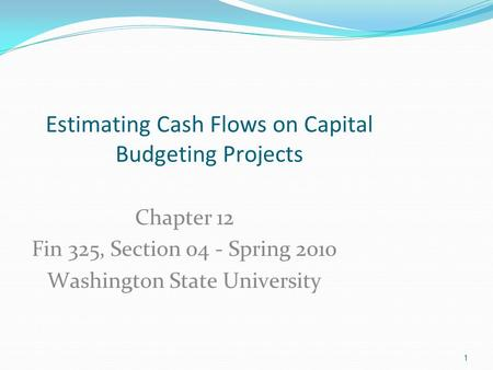 Estimating Cash Flows on Capital Budgeting Projects