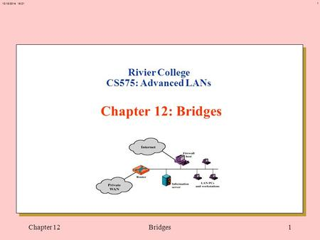 1 12/18/2014 15:21 Chapter 12Bridges1 Rivier College CS575: Advanced LANs Chapter 12: Bridges.