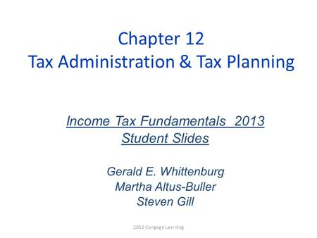 Chapter 12 Tax Administration & Tax Planning