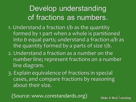 Develop understanding of fractions as numbers. 1. Understand a fraction 1/b as the quantity formed by 1 part when a whole is partitioned into b equal parts;