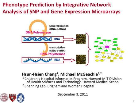 1 Phenotype Prediction by Integrative Network Analysis of SNP and Gene Expression Microarrays Hsun-Hsien Chang 1, Michael McGeachie 1,2 1 Children's Hospital.