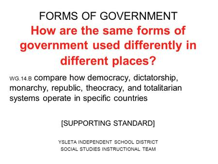 essay on different forms of government Forms of government dbq prompt: after world war i and the great depression, why did some european countries turn toward fascism while other european countries stayed democratic.