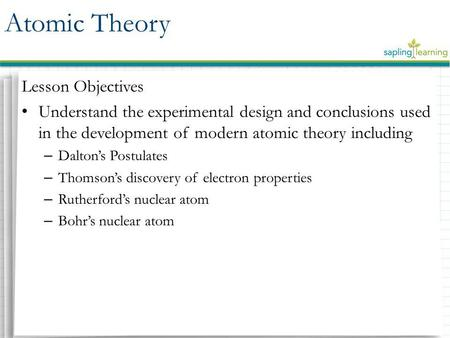 Atomic Theory Lesson Objectives