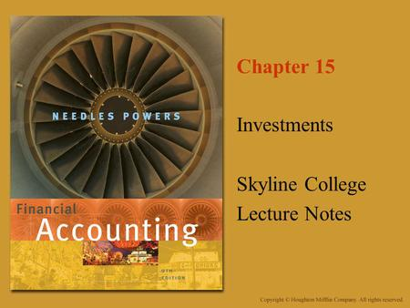 Chapter 15 Investments Skyline College Lecture Notes.
