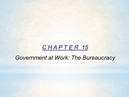 C H A P T E R 15 Government at Work: The Bureaucracy
