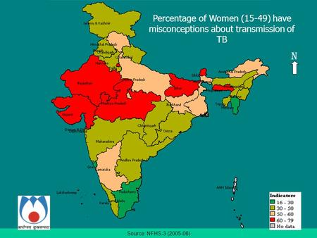 Source: NFHS-3 (2005-06) Percentage of Women (15-49) have misconceptions about transmission of TB N.