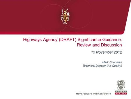 Highways Agency (DRAFT) Significance Guidance: Review and Discussion 15 November 2012 Mark Chapman Technical Director (Air Quality)