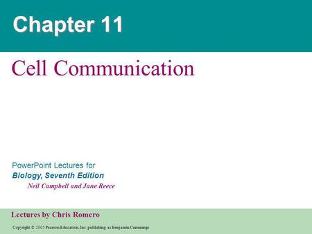 Chapter 11 Cell Communication.