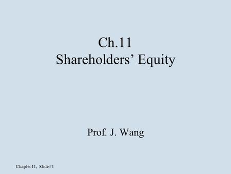 Ch.11 Shareholders' Equity