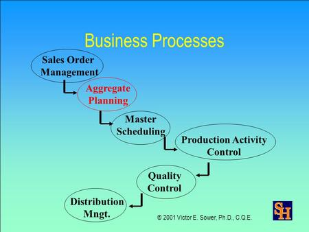 Business Processes Sales Order Management Aggregate Planning Master Scheduling Production Activity Control Quality Control Distribution Mngt. © 2001 Victor.