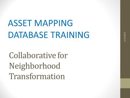 Collaborative for Neighborhood Transformation ASSET MAPPING DATABASE TRAINING 11/12/2012.