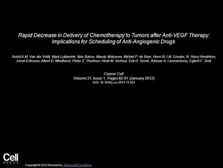 Rapid Decrease in Delivery of Chemotherapy to Tumors after Anti-VEGF Therapy: Implications for Scheduling of Anti-Angiogenic Drugs Astrid A.M. Van der.