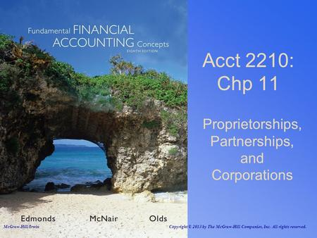 Proprietorships, Partnerships, and Corporations Acct 2210: Chp 11 McGraw-Hill/Irwin Copyright © 2013 by The McGraw-Hill Companies, Inc. All rights reserved.