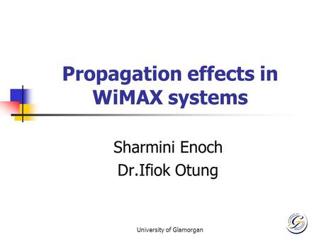 University of Glamorgan Propagation effects in WiMAX systems Sharmini Enoch Dr.Ifiok Otung.
