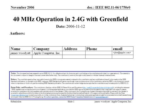 Doc.: IEEE 802.11-06/1750r0 Submission November 2006 james woodyatt / Apple Computer, Inc.Slide 1 40 MHz Operation in 2.4G with Greenfield Notice: This.