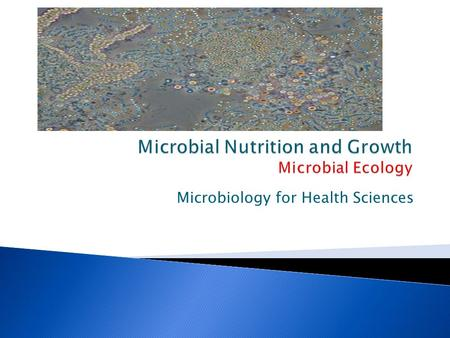 Microbial Nutrition and Growth Microbial Ecology