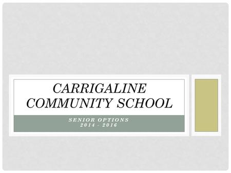 SENIOR OPTIONS 2014 - 2016 CARRIGALINE COMMUNITY SCHOOL.