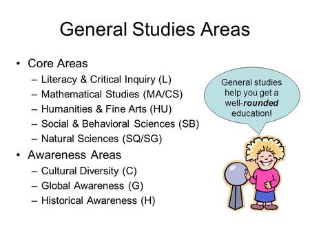 General Studies Areas Core Areas –Literacy & Critical Inquiry (L) –Mathematical Studies (MA/CS) –Humanities & Fine Arts (HU) –Social & Behavioral Sciences.