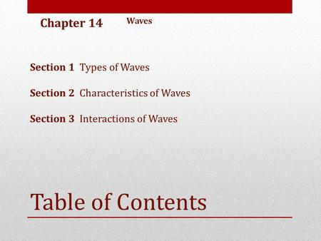 Table of Contents Chapter 14