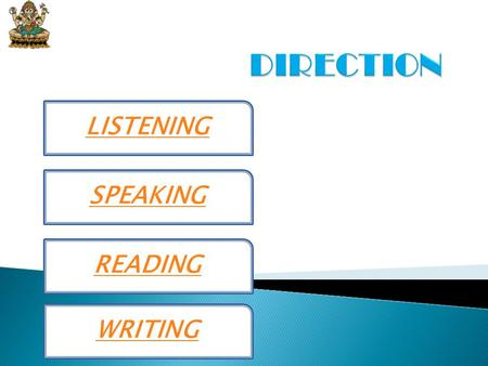 DIRECTION LISTENING SPEAKING READING WRITING.