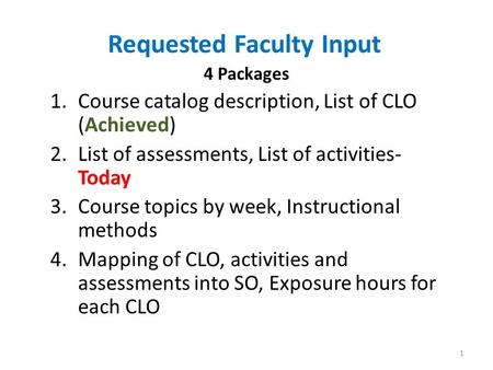 Requested Faculty Input 4 Packages 1.Course catalog description, List of CLO (Achieved) 2.List of assessments, List of activities- Today 3.Course topics.