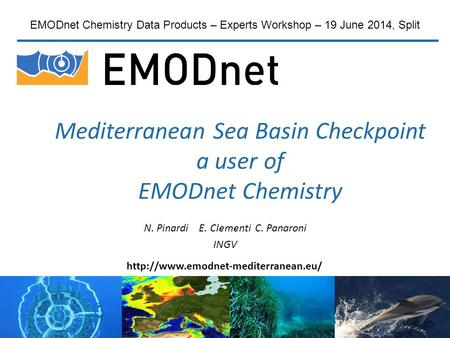 Mediterranean Sea Basin Checkpoint a user of EMODnet Chemistry N. Pinardi E. Clementi C. Panaroni INGV EMODnet Chemistry Data Products – Experts Workshop.