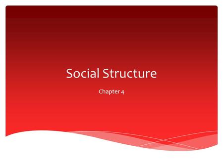 Social Structure Chapter 4.