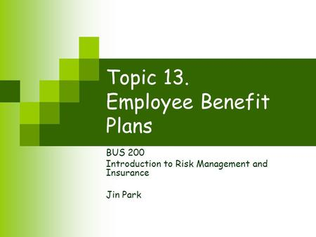 Topic 13. Employee Benefit Plans BUS 200 Introduction to Risk Management and Insurance Jin Park.