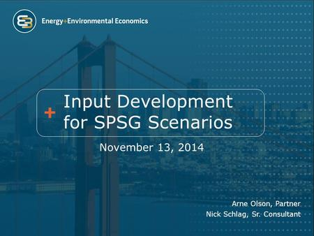 Input Development for SPSG Scenarios November 13, 2014 Arne Olson, Partner Nick Schlag, Sr. Consultant.