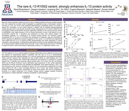 The rare IL-13 R105Q variant, strongly enhances IL-13 protein activity David Rosenbaum 1, Gregory Hawkins 2, Lingxiang Zhu 3, Yin Chen 3, Eugene Bleecker.