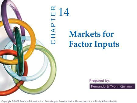 Fernando & Yvonn Quijano Prepared by: Markets for Factor Inputs 14 C H A P T E R Copyright © 2009 Pearson Education, Inc. Publishing as Prentice Hall Microeconomics.