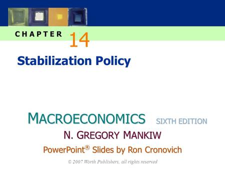 M ACROECONOMICS C H A P T E R © 2007 Worth Publishers, all rights reserved SIXTH EDITION PowerPoint ® Slides by Ron Cronovich N. G REGORY M ANKIW Stabilization.