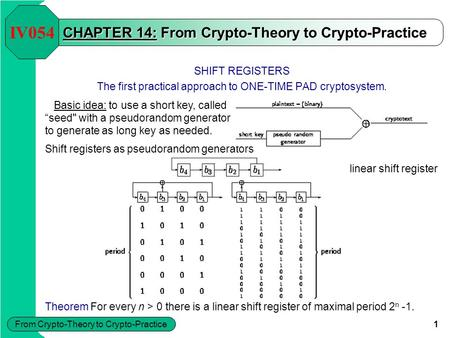 From Crypto-Theory to Crypto-Practice 1 CHAPTER 14: From Crypto-Theory to Crypto-Practice SHIFT REGISTERS The first practical approach to ONE-TIME PAD.