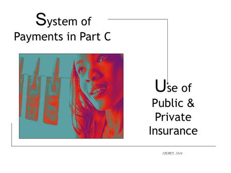 S ystem of Payments in Part C NICHCY, 2014 U se of Public & Private Insurance.