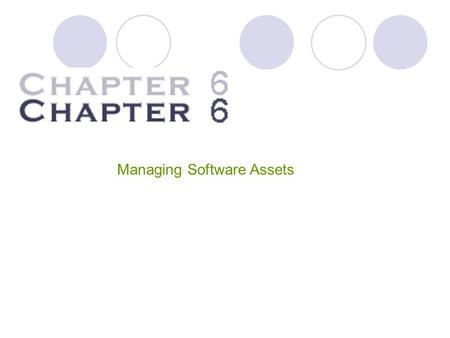 Managing Software Assets. Managing Software Assets Software costs represent one of the largest information technology expenditures in most firms. Amounting.