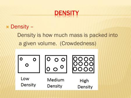 DENSITY Density – Density is how much mass is packed into