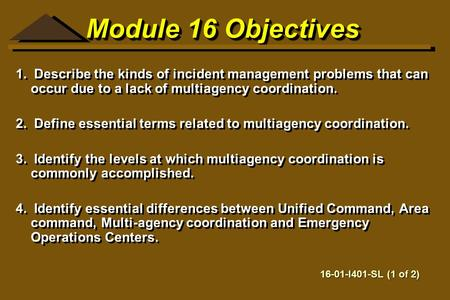 Module 16 Objectives 1. Describe the kinds of incident management problems that can occur due to a lack of multiagency coordination. 2. Define essential.