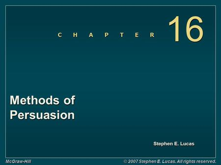 16 Methods of Persuasion Slide No. Title Title Slide
