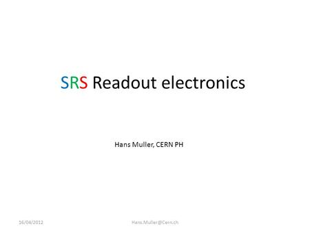 SRS Readout electronics